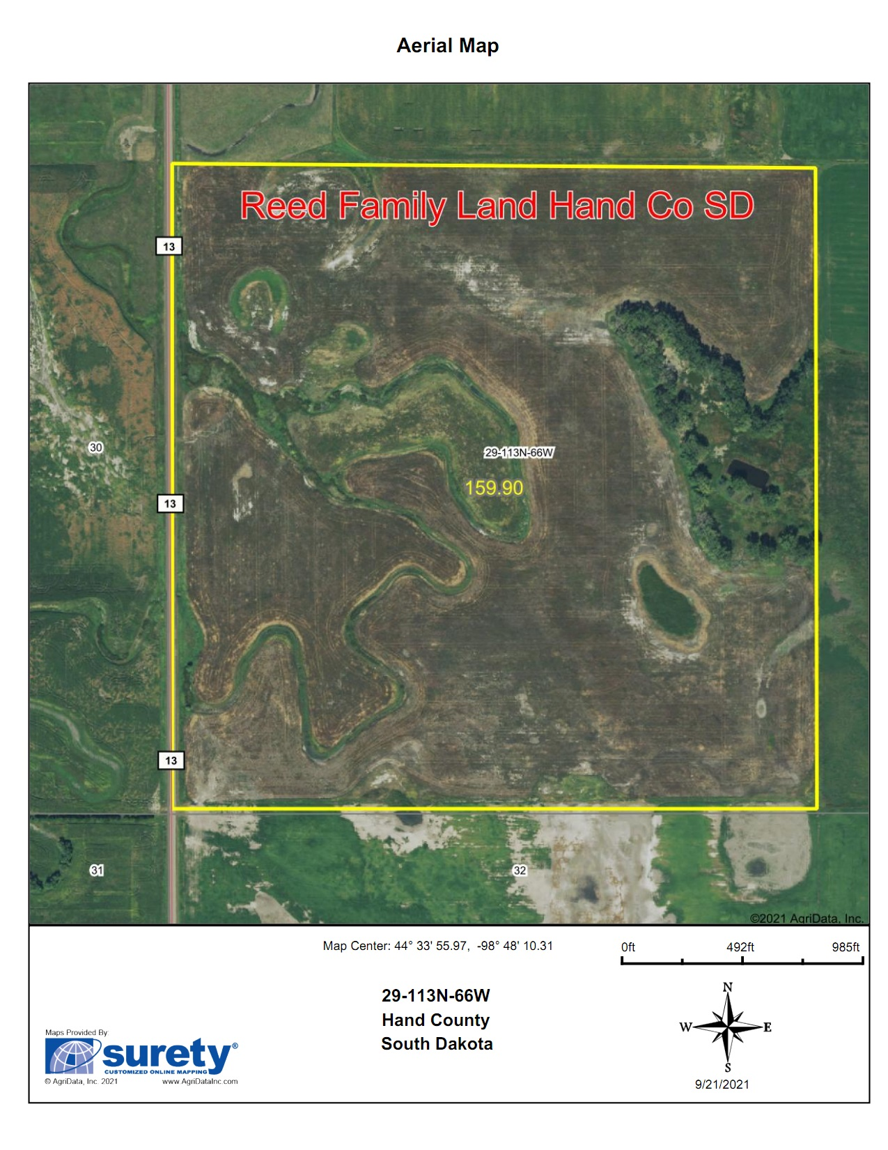 10/28 11am 158.96 Acres Hand County Land Auction